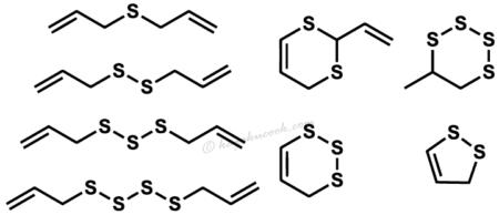 加熱還流したアリルイソチオシアネート水溶液中に生じる8つの分解産物の構造式
